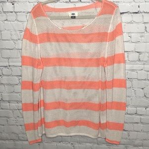 Old Navy Mesh Striped Orange and White Sweater XL